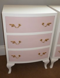 Bow fronted bedside tables in Old White and Pink
