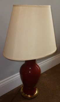 Burgundy ginger jar lamp for twin room