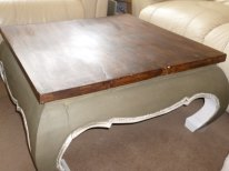 'The Elephant' coffee table in Olive and Old White with waxed top
