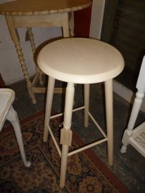 Old wooden stool in Cream