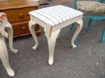 Dressing table stool with ticking fabric