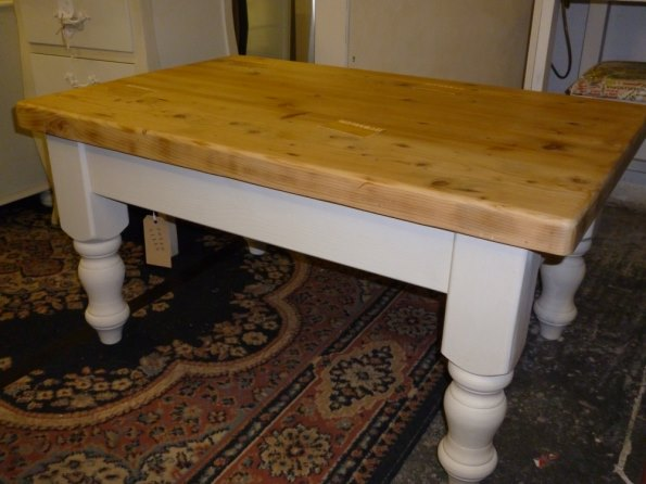 Pine waxed-top coffee table in Old White