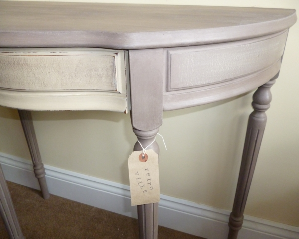 Demilune Console Table in Annie Sloan Coco and Country Grey