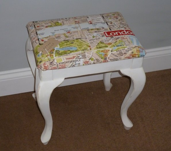 Dressing table stool with London Map fabric
