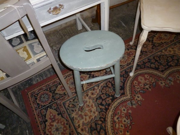 Small milking stool in duck egg blue