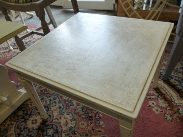 Square white coffee table with craqueler top